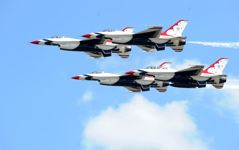 U.S. Air Force Thunderbirds fly in diamond formation at Joint Base Andrews, Maryland, during an air show Sep. 19, 2015. The Thunderbirds will be on display during the California Capital air show at Mather Airport in Sacramento county Oct. 3-4, 2015. (U.S. Air Force photo by Senior Airman Bobby Cummings)