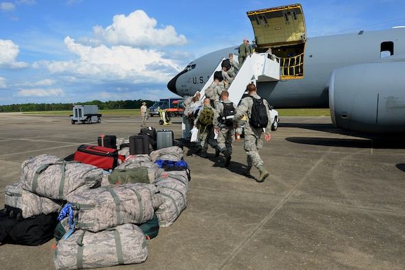 U.S. Airmen from the South Carolina Air National Guard's 169th Fighter Wing at McEntire Joint National Guard Base, S.C., load a KC-135 Stratotanker from Tinker Air Force Base, Okla., to deploy in support of Operation Atlantic Resolve at Łask Air Base, Poland, May 26, 2015. (U,S. Air National Guard photo by Tech. Sgt. Caycee Watson/RELEASED)