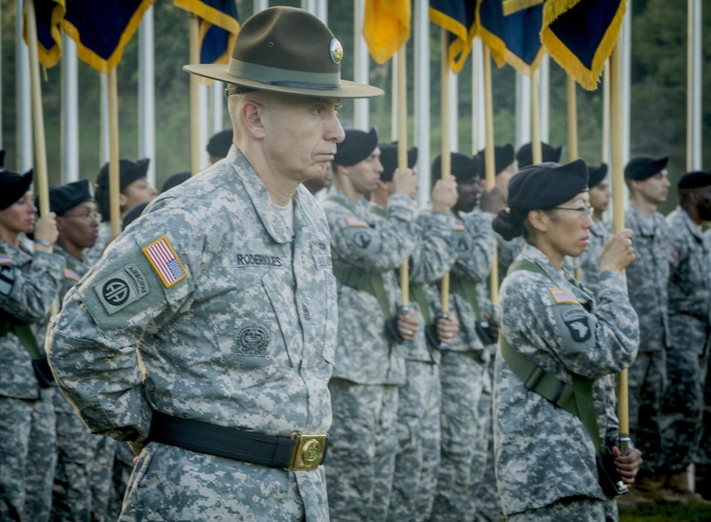 U.S. Army Sgt. Maj. Edward Roderiques, deputy commandant of the U.S. Army Drill Sergeant Academy, represents the USADSA during at change of command ceremony for the 108th Training Command (IET) at Fort Jackson, S.C., Sept. 20, 2015. (U.S. Army photo by Sgt. Ken Scar)