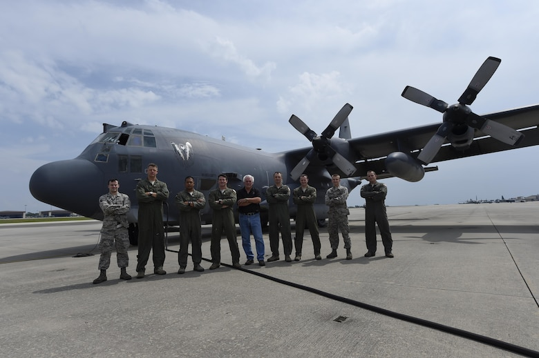 """The AC-130U Spooky """"Bad Omen"""" is the first """"U"""" model to retire to the Bone Yard at Davis-Monthan Air Force Base, Az., from Hurlburt Field, Fla., Sept. 21, 2015. """"Bad Omen"""" was delivered to Hurlburt Field on Feb. 17, 1995, during which time it flew more than 2,300 sorties with approximately 5,600 landings and more than 10,000 hours of flight time.  (U.S. Air Force photo by Airman Kai White)"""