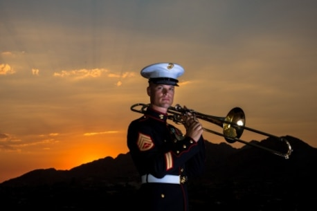 "U.S. Marine Corps Staff Sgt. James Merville, a Phoenix native, has been playing music since the first grade and always desired pursuing a career in music, which he found in the Marine Corps 12 years ago as a professional trombone player. Merville, a 2002 graduate from Camelback High School, joined the Marine Corps during his senior year because he had a strong desire to serve his country. Merville says he is excited for Marine Week Phoenix and the opportunity for his family and friends to learn more about what the Marine Corps really does. ""It's not just running around chasing bad guys,"" he said. ""That is a huge part of what we do, but there are so many other jobs that we do and there is so much we give back to the world and the community at large."""
