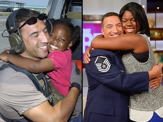 Left: Master Sgt. Mike Maroney embraces 3-yar-old LeShay Brown after rescuing her and her family from a New Orleans rooftop after Hurricane Katrina in 2005. Right: Mahroney and 13-year-old Brown reunite after a 10-year search by Maroney to find the girl who's smile and hug helped him through the difficulties of the rescue effort. (U.S. Air Force photo/Airman First class Veronica Pierce/Waner Brothers photo/Erica Parise)