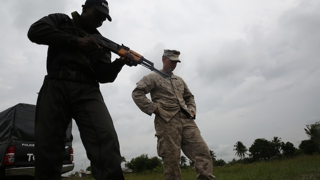 U.S. Marines and sailors accompanied Benin's National Surveillance Police to Jesu Jro, Benin, Sept. 24, to conduct a combined border surveillance training exercise. The Marines and sailors with the Special-Purpose Marine Air-Ground Task Force Crisis Response-Africa came to Benin for a monthlong theater security cooperation mission to build the NSP's capacity to counter illicit trafficking along the country's borders.
