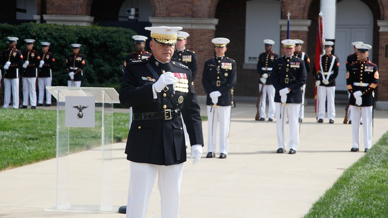 Gen. Robert B. Neller, the 37th and new Commandant of the Marine Corps, speaks during his passage of command ceremony at Marine Corps Barracks Washington, D.C., Sept. 24, 2015. Gen. Dunford relinquished the position to Gen. Robert B. Neller after being confirmed to succeed U.S. Army Gen. Martin Dempsey as Chairman of the Joint Chiefs of Staff.