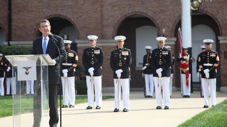 Secretary of Defense Ashton Carter speaks during the Commandant of the Marine Corps passage of command ceremony at Marine Corps Barracks Washington, D.C., Sept. 24, 2015. Gen. Dunford relinquished the position to Gen. Robert B. Neller, the 37th and new Commandant of the Marine Corps.