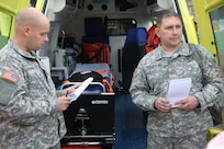 Left, Army Pfc. Carl Youngblood, a civil affairs specialist and Army Maj. Kevin Kaufman, chief of the civil affairs planning team, both from the 457th Civil Affairs Battalion, 7th Civil Support Command, speak with a U.S. Embassy-Croatia liaison/Humanitarian Assistance project coordinator and Croatian medical personnel while assessing European Command's HA funded defibrillators and medical equipment, Sept. 11, 2015 in Split, Croatia.