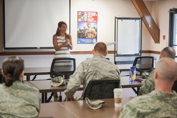 Jennifer Nelson, wife of wounded warrior U.S. Air Force Capt. Nathan Nelson, speaks to military members at the Airman and Family Readiness Center on Goodfellow Air Force Base, Texas, Sept. 18, 2015. Jennifer spoke about her life with her husband, as well as the challenges they face. (U.S. Air Force photo Staff Sgt. Michael Smith/Released)