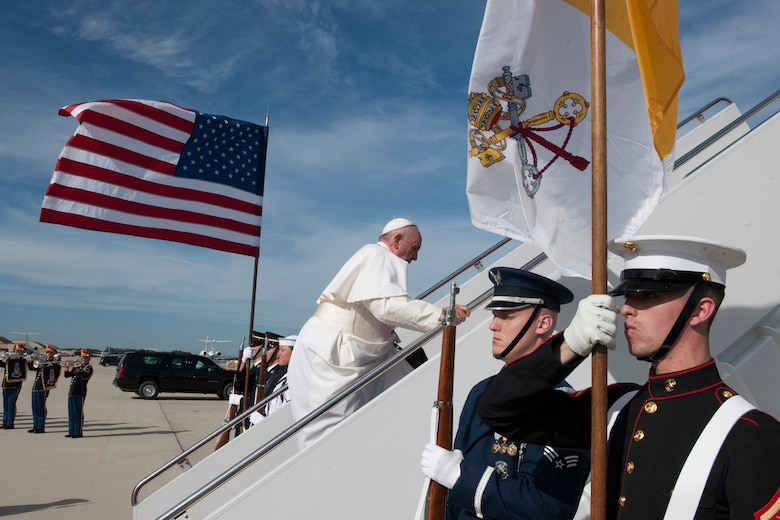 Pope Francis prepares to board his plane at Joint Base Andrews, Md., Sept. 24, 2015. Pope Francis will visit New York City and Philadelphia during his U.S. trip before returning to Rome Sept. 27. (U.S. Air Force photo/Tech. Sgt. Robert Cloys)