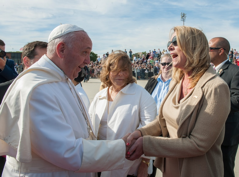 Secretary of the Air Force Deborah Lee James greets Pope Francis at Joint Base Andrews, Md., Sept. 24, 2015. The pope will visit New York and Philadelphia during his U.S. trip before returning to Rome Sept. 27. (U.S. Air Force photo/Tech. Sgt. Robert Cloys)