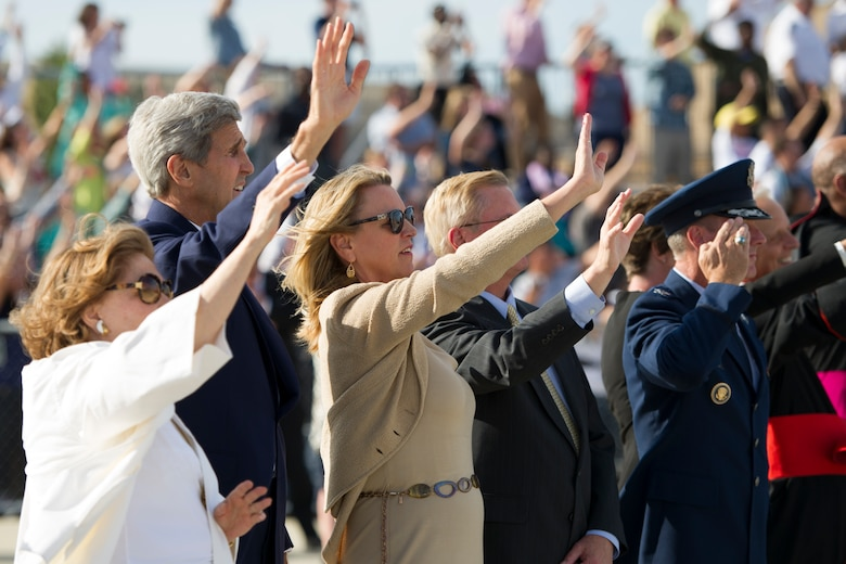 Secretary of State John Kerry and wife Teresa, and Secretary of the Air Force Deborah Lee James and husband Frank Beatty wave to Pope Francis as his plane departs Joint Base Andrews, Md., Sept. 24, 2015. The pope will continue his U.S. visit in both New York and Philadelphia before returning to Rome Sept. 27. (U.S. Air Force photo/Tech. Sgt. Robert Cloys)