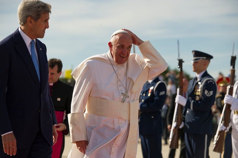 Secretary of State John Kerry greets Pope Francis at Joint Base Andrews, Md., Sept. 24, 2015. The pope will visit New York and Philadelphia during his U.S. trip before returning to Rome Sept. 27. (U.S. Air Force photo/Tech. Sgt. Robert Cloys)