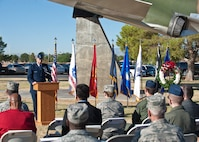 Brig. Gen. Christopher Short, 57th Wing commander, speaks during the Prisoners of War/Missing in Action Recognition Ceremony at Nellis Air Force Base, Nev., Sept. 18, 2015. During the ceremony, Short said that the day was not just a day to honor former POWs and those MIA, but to acknowledge that the U.S. is still a nation at war and that more Americans may still be captured by our nation's enemies or potentially become MIA. (U.S. Air Force photo by Staff Sgt. Siuta B. Ika)