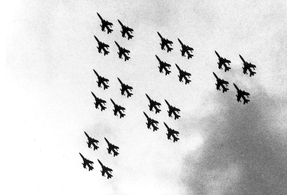 The 419th Tactical Fighter Wing says goodbye to the F-105 Thunderchief at Hill Air Force Base June 4, 1984. The farewell was complete with a 24-ship flyover to commemorate the occasion. The event saluted an aircraft that played an important part in USAF history and focused on the continuing modernization of the Air Force Reserve. (File photo)