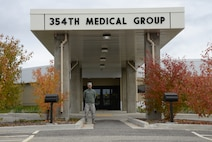 U.S. Air Force Senior Airman Noel Morales, a 354th Medical Support Squadron uniform business office manager, poses under the 354th Medical Group overhang Sept. 23, 2015, at Eielson Air Force Base, Alaska. Morales said his proudest accomplishment is the opportunity given to him by the 354th Fighter Wing Honor Guard. (U.S. Air Force photo by Airman 1st Class Cassandra Whitman/Released)