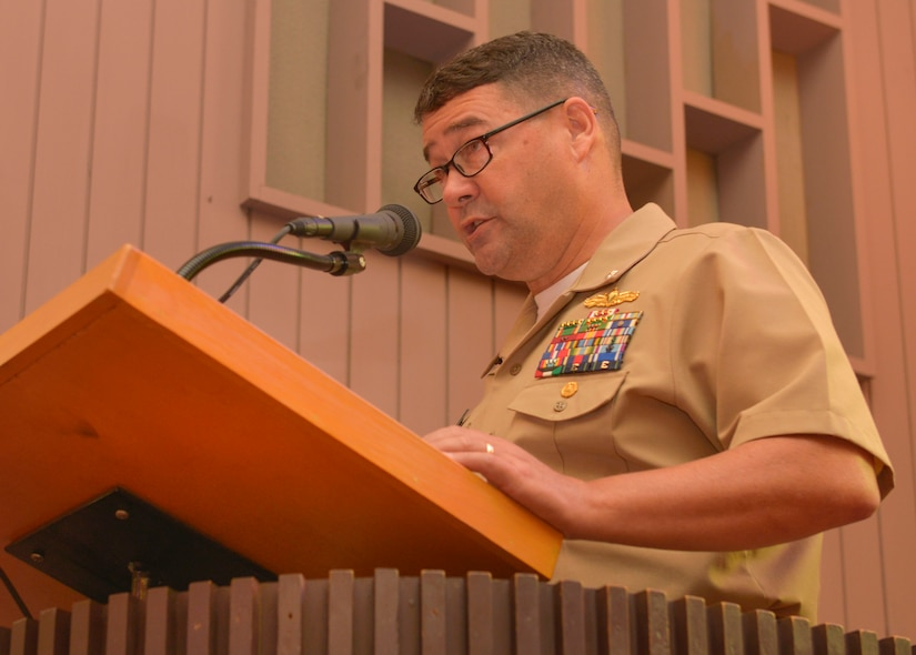 Navy Commander David Tarwater, Naval Support Activity Charleston Executive Officer, opens the Navy Gold Star Remembrance ceremony Sept. 23, 2015at the Good Shepherd Chapel on Joint Base Charleston –Weapons Station, Charleston, S.C. The event honors local fallen Sailors.