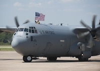 A C-130J Super Hercules taxis onto the flight line after returning from supporting operations in Southwest Asia Sept. 15, 2015, at Little Rock Air Force Base, Ark. About 400 Little Rock AFB Airmen are currently deployed around the globe supporting wartime and contingency operations. (U.S. Air Force photo/Senior Airman Scott Poe)