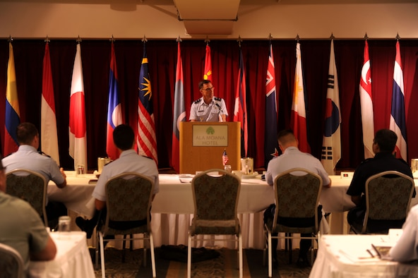 Maj. Gen. Mark Dillon, Pacific Air Forces vice commander, gives opening remarks during the Pacific Rim Airpower Symposium Sept. 22, 2015, in Honolulu, Hawaii. Senior officer and enlisted airmen from nations throughout the Indo-Asia-Pacific region attended the symposium to discuss ways to improve cooperation, leadership and coordination efforts. (U.S. Air Force photo by Staff Sgt. Alexander Martinez/Released)