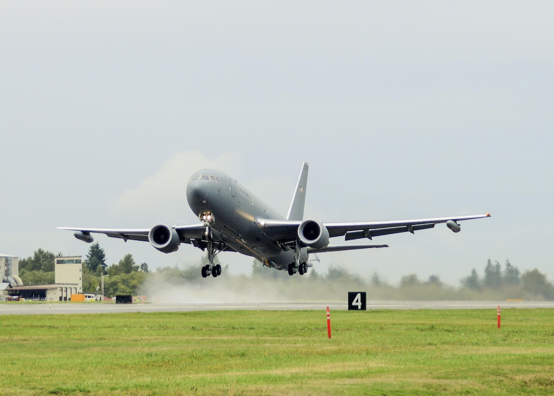 A KC-46 Pegasus took to the skies for its first flight at Paine Field in Everett, Wa., Sept. 25, 2015. (U.S. Air Force photo/Jet Fabara)