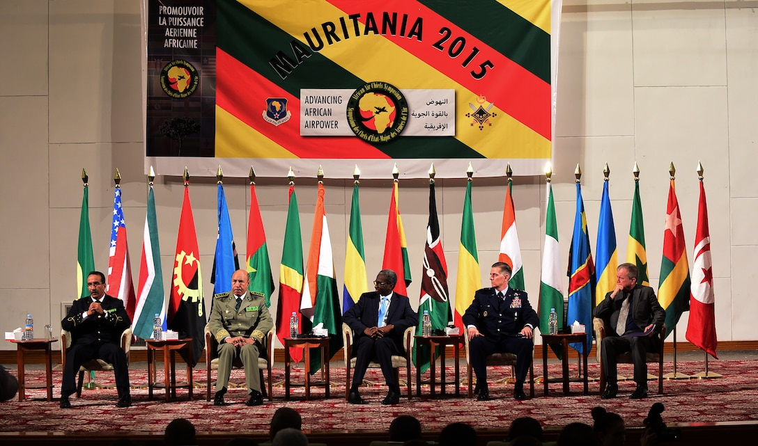 Mauritanian and U.S. leadership participate in the opening ceremony of the 5th Annual African Air Chiefs Symposium in Nouakchott, Mauritania, Sept. 15, 2015. The Mauritanian Air Force is co-hosting this year's African Air Chiefs Symposium along-side U.S. Air Forces Africa Sept. 14-17, to give Air Chiefs from the U.S. and 18 African countries the chance to discuss the role of Air Power in addressing African challenges. (U.S. Air Force photo by Master Sgt. Chrissy Best/Released)