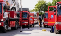 Firefighters from the 51st Civil Engineer Squadron and South Korean first-responders line up their vehicles near a simulated factory fire Sept. 24, 2015, near Songtan, Republic of Korea. The 51 CES members are from Osan Air Base and took part in a hazardous materials training session in order to test each fire station's capabilities. (U.S. Air Force photo by Staff Sgt. Benjamin Sutton)