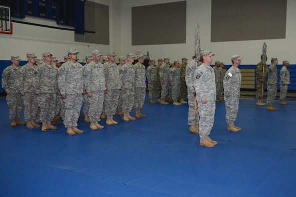 C Company, 1st Battalion, 14th Infantry Regiment and D Company 2nd Battalion, 27th Infantry Regiment; stand in formation during Task Force Talon's transfer of authority ceremony Sept. 25, 2015, at Andersen Air Force Base, Guam. The ceremony is an official representation of the unit's acceptance of the Homeland Defense mission which tasks the teams to provide tactical ballistic missile defense for the island of Guam against any potential threats. (U.S. Air Force photo by Airman 1st Class Arielle Vasquez/Released)