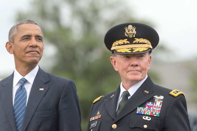 President Barack Obama, left, and Army Gen. Martin E. Dempsey, chairman of the Joint Chiefs of Staff, attend the chairman change of responsibility ceremony on Joint Base Myer-Henderson Hall in Arlington, Va., Sept. 25, 2015. DoD photo by D. Myles Cullen