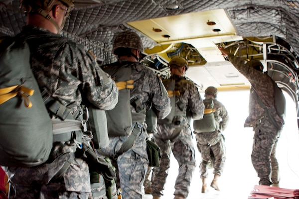 DLA Distribution Susquehanna's airborne riggers perform a static line jump from a CH47 Chinook during a monthly airborne operation on April 14.