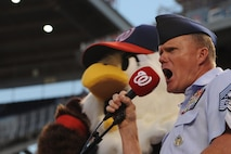 """Chief Master Sgt. of the Air Force James A. Cody screams the famous words """"play ball"""" at Nationals Park in Washington, D.C., Sept. 18, 2015. The Washington Nationals hosted a game honoring the Air Force on its birthday. (U.S. Air Force photo/Senior Airman Hailey Haux)"""
