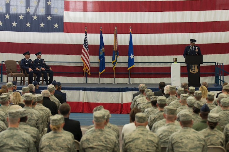 Maj. Gen. Richard Clark, Eighth Air Force commander, addresses Ellsworth Airmen during the B-1 realignment ceremony at Ellsworth Air Force Base, S.D., Sept. 28, 2015. Ellsworth is one of two bases that ceremonially realigned to Air Force Global Strike Command's Eighth Air Force today, uniting all Air Force bombers under a single command. (U.S. Air Force photo by Senior Airman Rebecca Imwalle/Released)