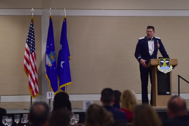 Maj. Gen. David Thompson, Air Force Space Command vice commander, speaks at the annual Air Force Ball Sept. 25, 2015, at the Westin Hotel in Denver. Team Buckley held an annual ball to celebrate the 68th birthday of the Air Force.  (U.S. Air Force photo by Airman 1st Class Luke W. Nowakowski/Released)