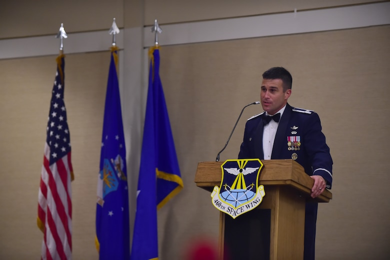 Col. John Wagner, 460th Space Wing commander, speaks at the Air Force Ball Sept. 25, 2015, at the Westin in Denver.  Team Buckley held an annual ball to celebrate the 68th birthday of the Air Force. (U.S. Air Force photo by Airman 1st Class Luke W. Nowakowski/Released)
