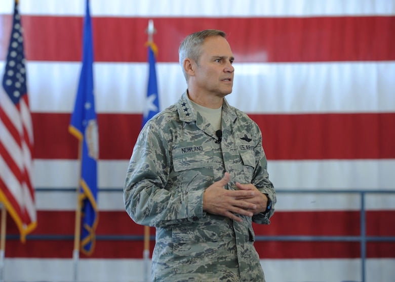 Lt. Gen. Chris Nowland, 12th Air Force (Air Forces Southern) commander, answers questions from Airmen during an all call at Ellsworth Air Force Base, S.D., Sept. 24, 2015. Nowland answered questions regarding the fight against the Islamic State of Iraq and the Levant (ISIL), current force protection condition levels, and other events impacting the Air Force. (U.S. Air Force photo by Airman 1st Class Denise M. Nevins/Released)