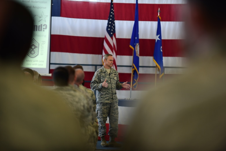 Lt. Gen. Chris Nowland, 12th Air Force (Air Forces Southern) commander, addresses Ellsworth Airmen during an all call at Ellsworth Air Force Base, S.D., Sept. 24, 2015. Nowland hit on several topics including recent events unfolding worldwide and within the Air Force, and closed by bidding farewell to the 28th Bomb Wing as it begins its transition to Air Force Global Strike Command Oct. 1, 2015. (U.S. Air Force photo by Airman 1st Class James L. Miller/Released)