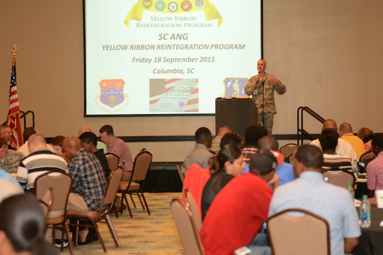 U.S. Air Force Lt. Col. Brian Bohlman, 169th Fighter Wing chaplain at McEntire Joint National Guard Base, S.C., speaks to South Carolina Air National Guardsmen at the Medallion Center in Columbia, S.C., during the Yellow Ribbon Reintegration Program seminar, Sept. 18, 2015.  The Y.R.R.P. provides resources for SCANG members and their families during deployment cycles.  (U.S. Air National Guard photo by Airman 1st Class Ashleigh Pavelek/RELEASED)