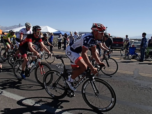 Captain Jose Solis, right, competes in stage three of the Tucson Bicycle Classic, in Tucson, Az., March 16. Solis, a member of the 173rd Airborne Brigade, will represent the United States at the World Military Games in Korea, October 2015.