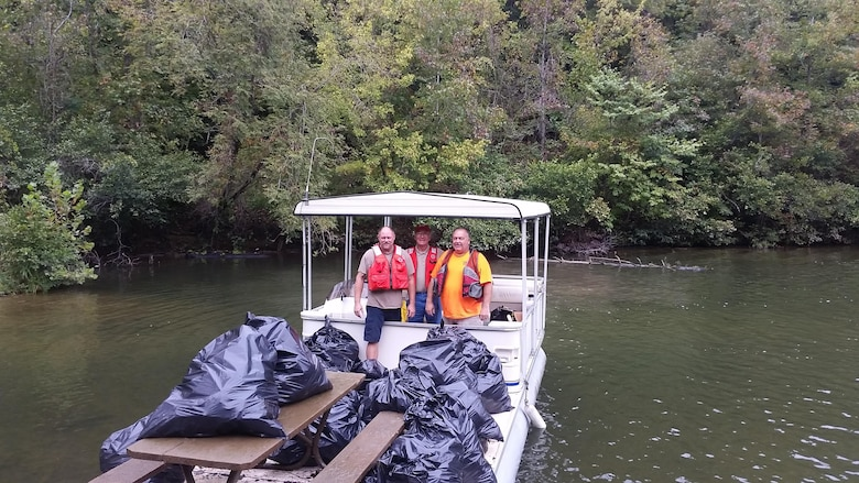 On Saturday, September 26, 2015 the U.S. Army Corps of Engineers, Paintsville Kiwanis, Kentucky Department of Fish and Wildlife, Carl D. Perkins Job Corps and Jenny Wiley State Park met at Terry Boat Ramp to launch boats and perform a debris sweep on Dewey Lake. This was the second annual National Public Lands Day event to be held at Dewey Lake.