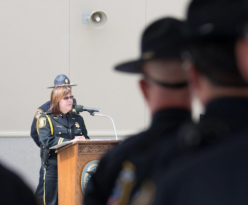 Lathrop Police Services chief of police Danelle Hohe served as the keynote speaker at the Peace Officer's Memorial Observance ceremony held at Defense Distribution Depot San Joaquin, Calif.'s Public Safety Center May 13.