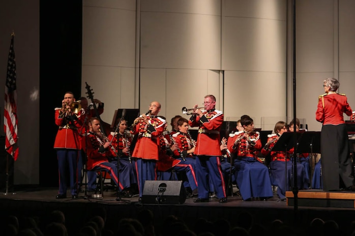On Sept. 19, 2015, the Marine Band performed at Lenoir-Rhyne University in Hickory, N.C., as part of its National Tour. (U.S. Marine Corps photo by Staff Sgt. Rachel Ghadiali/released)