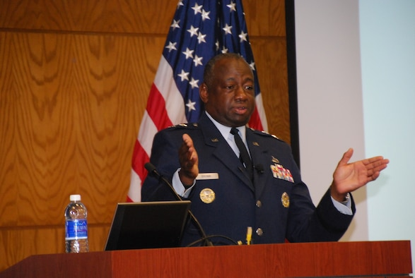 Maj. Gen. Mark Brown visited Defense Finance and Accounting Service headquarters in Indianapolis, Sept. 16, 2015, during the agency's annual business meeting to speak about 21st century Airmen and how DFAS could help service today's generation. (Department of Defense photo/Chyenne Adams)