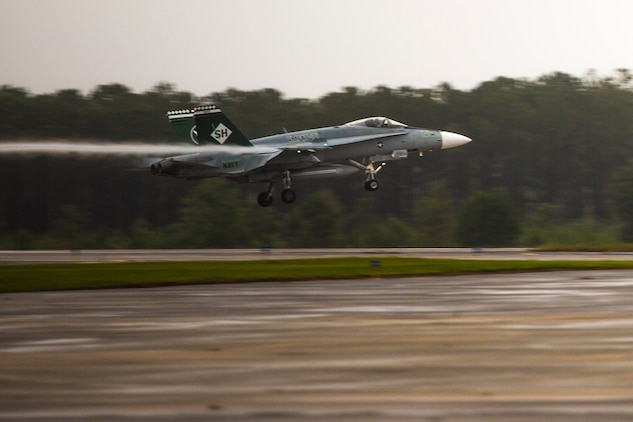 An F/A-18C Hornet lands aboard Marine Corps Air Station Beaufort Sept. 24. VMFAT-101 brought 15 jets from Marine Corps Air Station Miramar to train at MCAS Beaufort. The Hornet is with Marine Fighter Attack Training Squadron 101, Marine Aircraft Group 11.