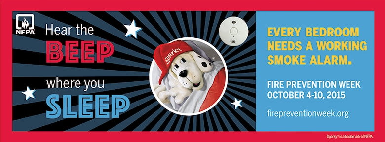 "Oct. 4 through 10 is National Fire Prevention Week. This year's theme is: ""Hear the Beep Where You Sleep: Every Bedroom Needs a Working Smoke Alarm!"" (Graphic by National Fire Protection Association)"