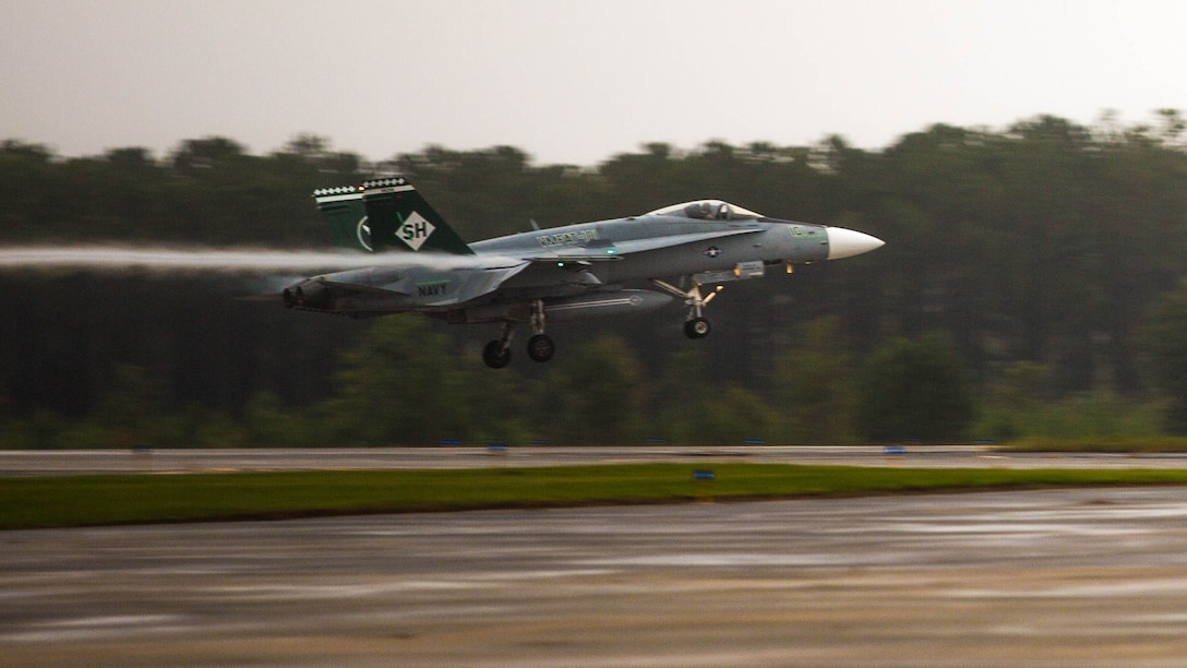 An F/A-18C Hornet lands aboard Marine Corps Air Station Beaufort, South Carolina, Sept. 24. VMFAT-101 brought 15 jets from Marine Corps Air Station Miramar, California, to train at MCAS Beaufort. The Hornet is with Marine Fighter Attack Training Squadron 101, Marine Aircraft Group 11.