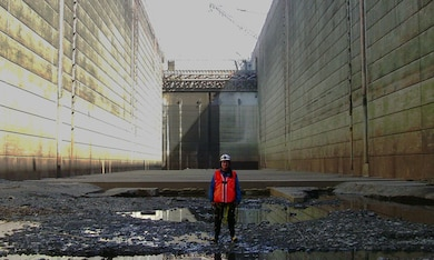 Thomas North, Senior Structural Engineer with the U.S. Army Corps of Engineers' Northwestern Division visited the navigation lock at The Dalles Dam for a routine inspection. The Dalles' navigation lock is one of the deepest in the world.
