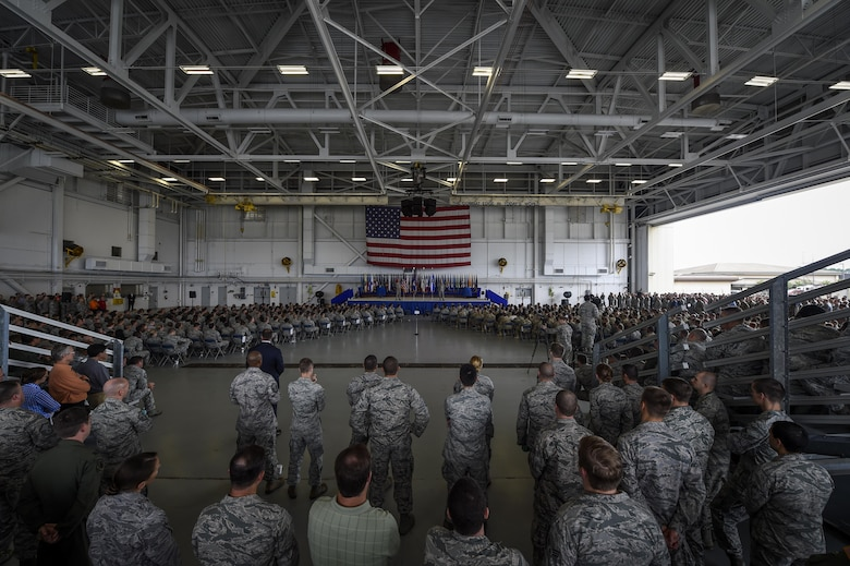 Air Force Chief of Staff Gen. Mark A. Welsh III and Chief Master Sgt. of the Air Force James A. Cody speak to Airmen during an Airmen's Call at Freedom Hangar on Hurlburt Field, Fla., Sept. 30, 2015. (U.S. Air Force photo by Airman Kai White)