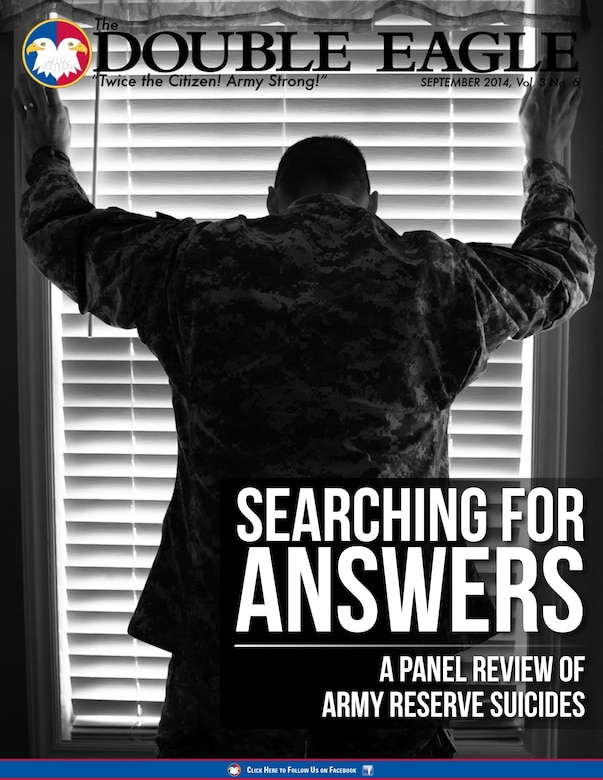COVER STORY: In 2013, 57 Army Reserve Soldiers committed suicide, the highest number since 2009. The results of a panel review of each of the cases has been released to Army Suicide Awareness and Prevention managers at the U.S. Army Reserve Command headquarters at Fort Bragg, N.C. The review gave them a better understanding of what caused these Soldiers to end their lives and paves the way ahead to prevent or reduce more tragic losses in the future. (Photo illustration by Timothy L. Hale/U.S. Army Reserve)
