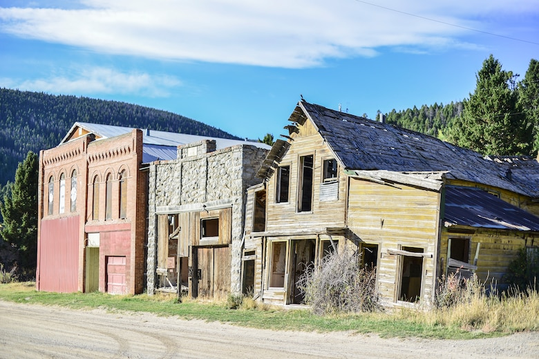 These three buildings greet are located at the entrance of Marysville, Mont. This once booming gold mining town was built and established around the Drumlummon Mine in 1876, by founder Thomas Cruse and was once one of the richest mining towns of its era. The Marysville mining district produced about $50 million in gold during its heyday. (U.S. Air Force photo/Tech. Sgt. Chad Thompson)