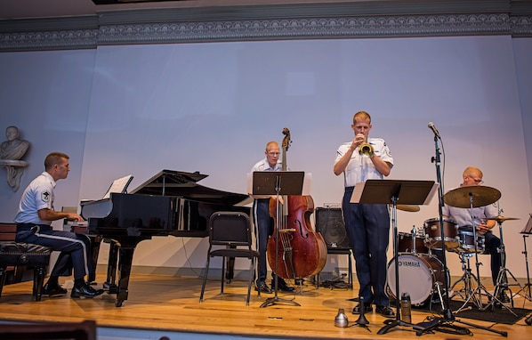 Members of the Airmen of Note perform at the Lyceum: Alexandria's History Museum during a recent chamber concert. (Air Force photo by Senior Master Sgt. Kevin Burns/released)