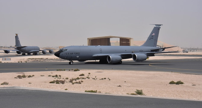 A KC-135 Stratotanker taxis to the runway at Al Udeid Air Base, Qatar March 27. Ensuring aircraft, like the one pictured here, take-off safely is one of the many responsibilities of the 379th Operations Support Squadron's Airfield Management team. The team inspects AUAB's airfield every day, more than 49 million square feet of pavement. Any discrepancies that could interfere with flying operations are reported and dealt with quickly. In 2015, the 379 EOSS Airfield Management team supported more than 20,000 sorties. (U.S. Air Force photo by Tech. Sgt. James Hodgman/Released)