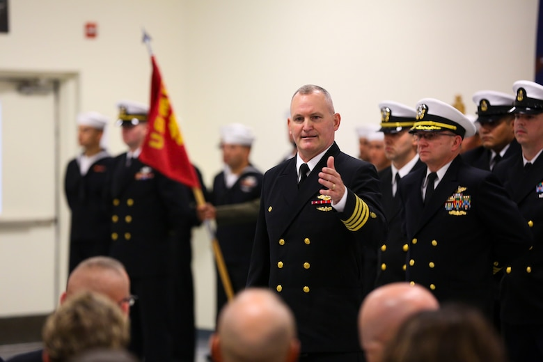 Navy Capt. Richard Jehue addresses the audience, bidding farewell in a change of command ceremony at Marine Corps Base Camp Lejeune at Camp Johnson Friday. Jehue served in both the Marine Corps and the Navy for a total of 31 years of service.