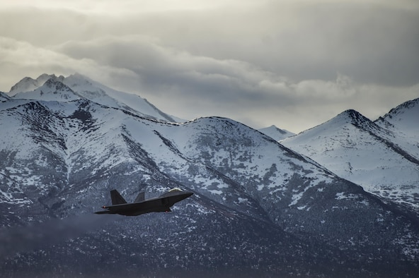 An F-22 Raptor takes off from Joint Base Elmendorf-Richardson, Alaska, for a training sortie March 24, 2016. Training sorties are imperative to pilot development and overall mission effectiveness. (U.S. Air Force photo/Senior Airman James Richardson)